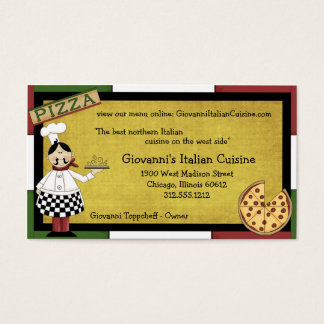 Chef Serving Hot Pizza Business Card