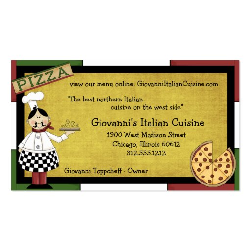 Chef Serving Hot Pizza Double-Sided Standard Business Cards (Pack Of 100)