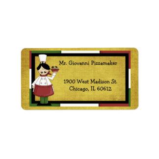 Chef Serving Spaghetti Address Label
