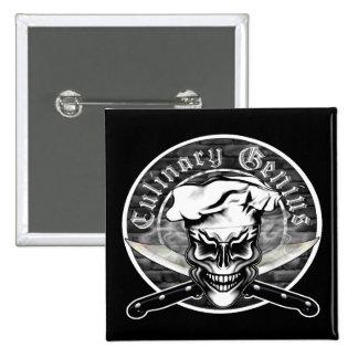 Chef Skull 1 2 Inch Square Button