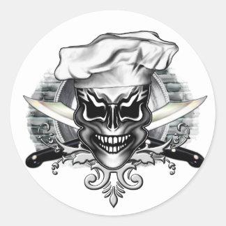 Chef Skull 1 Classic Round Sticker