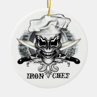 Chef Skull 1 Double-Sided Ceramic Round Christmas Ornament