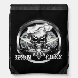 Chef Skull 1: Iron Chef Drawstring Backpacks