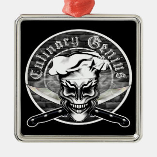 Chef Skull 1 Metal Ornament