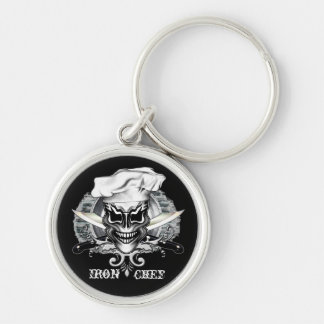 Chef Skull 1 Silver-Colored Round Keychain