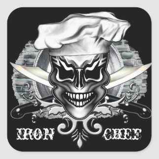Chef Skull 1 Square Sticker