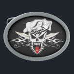 """Chef Skull 2.1 Belt Buckle<br><div class=""""desc"""">This design features a cool chef skull wearing his floppy toque, with his jaw dropped and tongue sticking out. Sharp crossed carving knives in front of a bold white flame are behind this culinary genius, replacing traditional crossbones. This quality product a perfect gift for the executive chef, sous chef, home...</div>"""