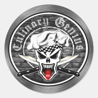 Chef Skull 2.1: Culinary Genius (3 inch) Round Sticker