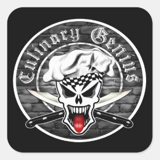 Chef Skull 2.1: Culinary Genius (square) Square Sticker
