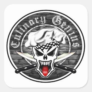 Chef Skull 2.1: Culinary Genius (square) Square Stickers