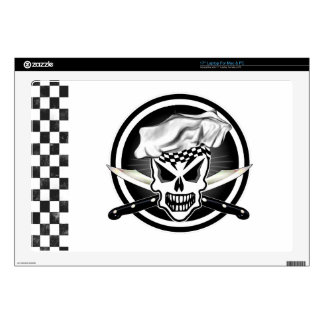 "Chef Skull 2 and Crossed Chef Knives 17"" Laptop Skins"