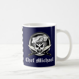 Chef Skull 2 and Crossed Chef Knives Classic White Coffee Mug