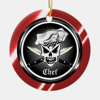 Chef Skull 2 and Crossed Chef Knives Double-Sided Ceramic Round Christmas Ornament