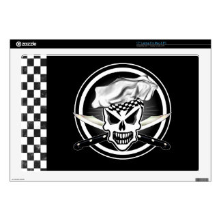 "Chef Skull 2 and Crossed Chef Knives Skins For 17"" Laptops"