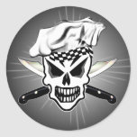 Chef Skull 2 and Crossed Chef Knives Classic Round Sticker