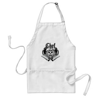 Chef Skull 2 and Crossed Cleavers 2 Adult Apron