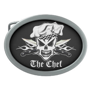 Chef Skull 2 Oval Belt Buckle