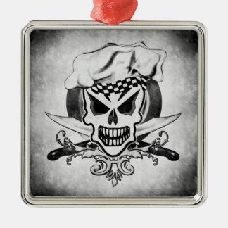 Chef Skull 2 Square Metal Christmas Ornament