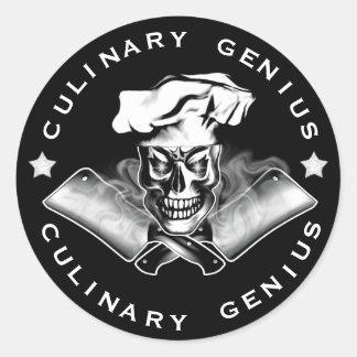 Chef Skull 3.1: Culinary Genius (3 inch) Round Stickers