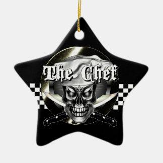 Chef Skull 3.1 Double-Sided Star Ceramic Christmas Ornament