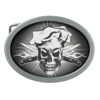 Chef Skull 3 Oval Belt Buckle