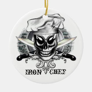 Chef Skull 4: Iron Chef Ceramic Ornament