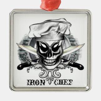 Chef Skull 4: Iron Chef Square Metal Christmas Ornament
