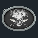 "Chef Skull 4: Killer Chef Belt Buckle<br><div class=""desc"">A cool sinister chef skull wearing his chef hat, in front of two sharp crossed carving chef knives. Entitled &quot;Killer Chef, &quot; this product was designed for the head chef, sous chef, home cook, line cook, and anyone with a fierce passion for cooking. And skulls.Visit www.zazzle.com/thechefshoppe to see more cool...</div>"