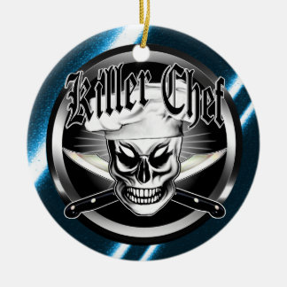 Chef Skull 4: Killer Chef Double-Sided Ceramic Round Christmas Ornament