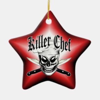 Chef Skull 4: Killer Chef Double-Sided Star Ceramic Christmas Ornament