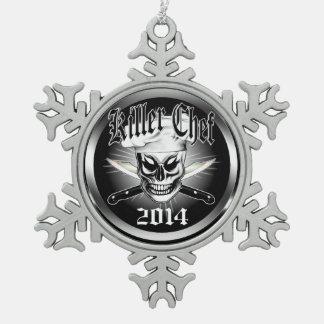 Chef Skull 4: Killer Chef Snowflake Pewter Christmas Ornament