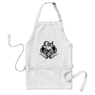 Chef Skull 4 with Smoking Cleavers Adult Apron