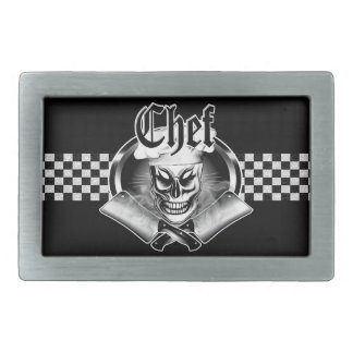 Chef Skull 4 with Smoking Cleavers Belt Buckle