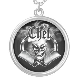 Chef Skull 4 with Smoking Cleavers Silver Plated Necklace