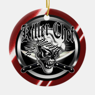 Chef Skull 5 Double-Sided Ceramic Round Christmas Ornament