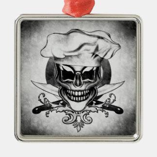 Chef Skull 6 Square Metal Christmas Ornament