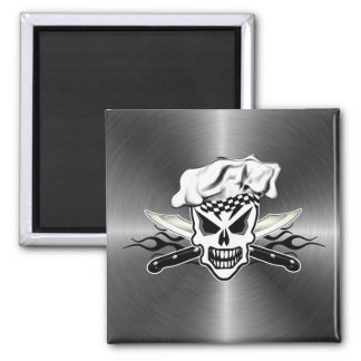 Chef Skull adn Flaming Chef Knives 2 2 Inch Square Magnet