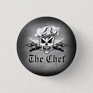 Chef Skull adn Flaming Chef Knives 2 Pinback Button