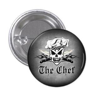 Chef Skull adn Flaming Chef Knives 2 Pinback Button