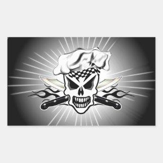 Chef Skull adn Flaming Chef Knives 2 Rectangular Sticker