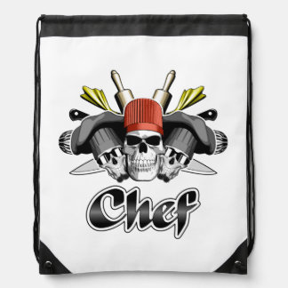 Chef Skull and Cooking Utensils Drawstring Bag