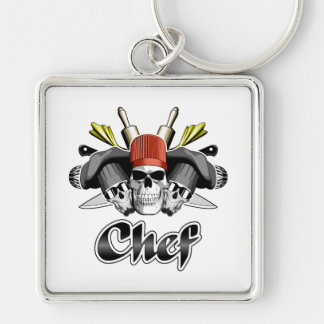 Chef Skull and Cooking Utensils Silver-Colored Square Keychain