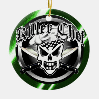 Chef Skull and Crossed Chef Knives 2 Double-Sided Ceramic Round Christmas Ornament