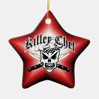 Chef Skull and Crossed Chef Knives 2 Double-Sided Star Ceramic Christmas Ornament