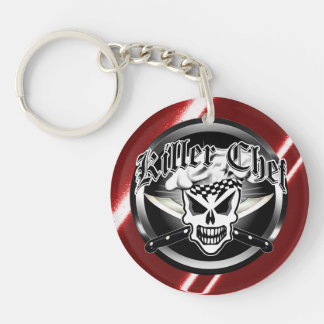 Chef Skull and Crossed Chef Knives 2 Double-Sided Round Acrylic Keychain