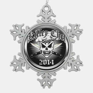 Chef Skull and Crossed Chef Knives 2 Snowflake Pewter Christmas Ornament