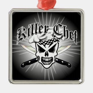 Chef Skull and Crossed Chef Knives 2 Square Metal Christmas Ornament