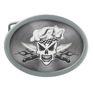 Chef Skull and Flaming Chef Knives 2 Belt Buckles