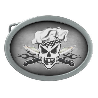 Chef Skull and Flaming Chef Knives 2 Oval Belt Buckles