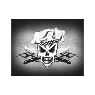 Chef Skull and Flaming Chef Knives 2 Canvas Print